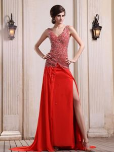 Beaded V-neck and High Slit Red Prom Dress with Court Train in Grandview