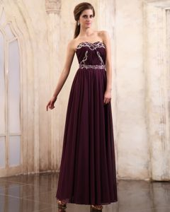 Ruched Dark Purple Ankle-length Empire Prom Gown with Beading in Ford