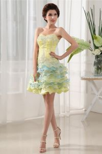 Cheap Ruffled Sweetheart Short Prom Gown Dress in Yellow with Beading