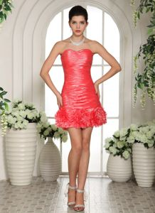 Sweetheart Mini-length Prom Gown Dress in Watermelon Red with Ruches