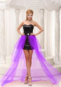 High-low Sweetheart Black and Purple Prom Dress with Beading in Ephrata