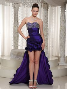Purple Sweetheart High-low Prom Dress with Hand Made Flowers in Everett