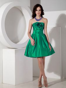 Green A-line Strapless Prom Dresses in Mini-length with Flower in Danville
