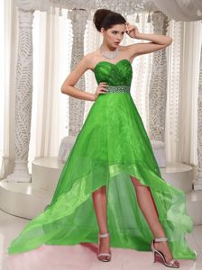 Sweetheart High-low Ruched and Beaded Prom Gown Dress in Spring Green