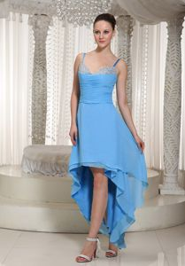 Exquisite High-low Teal Prom Gown Dress with Spaghetti Straps and Ruches