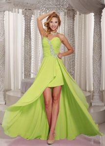 Yellow Green Beaded Sweetheart Prom Gowns with Longer Back in Burien