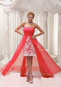 Coral Red Sweetheart High-low Prom Dress with Ruches and Lace in Brier