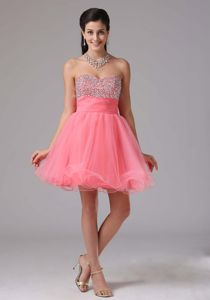 Sweetheart Organza Watermelon Red Short Prom Attire with Beaded Bodice