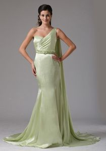 Romantic Watteau Train Yellow Green Formal Prom Dresses One Shoulder