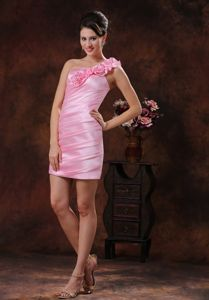 Attractive One Shoulder Mini-length Rose Pink Dress for Prom with Flowers