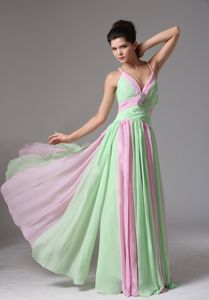 Best Two-toned Chiffon Long Prom Dress with Crisscross Back for Wholesale