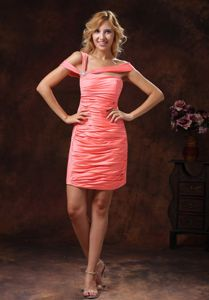 Asymmetrical Neckline Watermelon Ruched Short Prom Dress for Seniors 2013