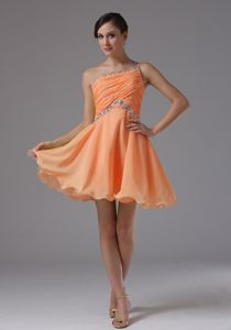 High Quality One Shoulder Short Beaded Orange Prom Dresses Fast Shipping