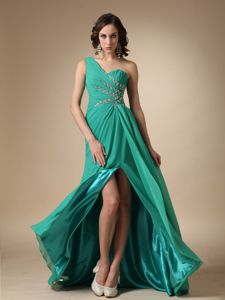 One Shoulder Beaded Slitted Turquoise Long Prom Dress with Special Back Design