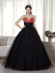 Wonderful A-line Black and Red Princess Prom Dress with Beading Patterns