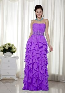 2013 New Arrival Strapless Purple Long Prom Dresses with Ruffled Hem