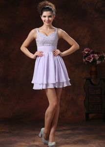 2014 Modest Straps Lilac Mini Prom Dresses for Summer with Beaded Bodice