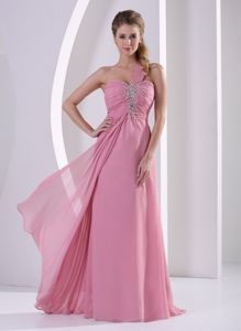 One Shoulder Beaded Rose Pink Long Seniors Prom Dress for a Cheap Price