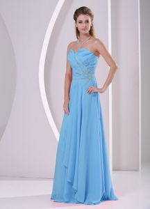 Simple Style Aqua Blue Long Prom Dress for Summer with Beading Online Shop