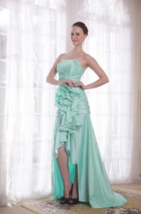 New Arrival Strapless High-low Apple Green Taffeta Prom Dress under 150