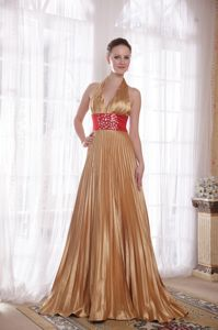 Best Seller Brush Train Pleated Beaded Gold Formal Prom Dress in Bucyrus OH