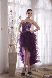 Stunning Lace-up Beaded Purple High-low Prom Dresses for a Cheap Price
