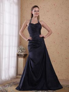 Best Halter Beaded Navy Blue A-line Taffeta Prom Dress under 150 Fast Shipping