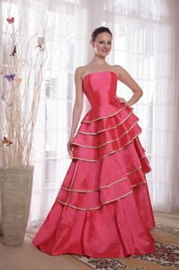 Elegant Strapless A-line Tiered Formal Prom Dresses in Coral Red in Burton OH