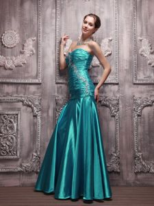 Pretty Taffeta Ruched Beaded Turquoise Formal Prom Dress for a Cheap Price