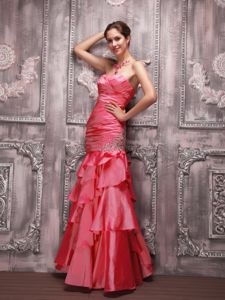 Sweetheart Coral Red Long Formal Prom Dress with Ruffled Hem and Beading