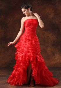 Unique High-low Zipper-up Ruffled Red Formal Prom Attire Free Shipping
