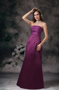 Fabulous Strapless Burgundy Long Formal Prom Dresses in Simple Style