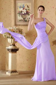 Lilac Long Formal Dress for Prom for Ladies One Shoulder Watteau Train