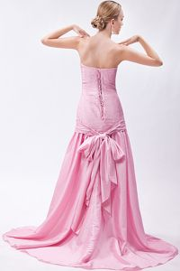 Clearance Lace-up Baby Pink Formal Prom Dresses for Celebrity with Sash