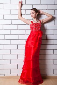 Straps Zipper-up Red Long Formal Prom Outfits with Beading Online Store