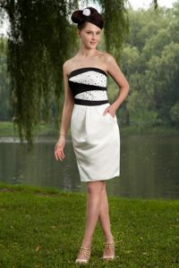 New White and Black Short Prom Dress for Summer with Beading under 100