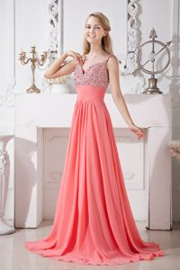 Impressive Straps Brush Train Watermelon Red Long Prom Dress in Celina USA
