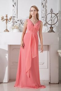 Special V-neck Zipper-up Watermelon Red Formal Prom Dresses under 150