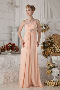 Luxurious One Shoulder Long Peach Prom Dresses in Factory for Wholesale