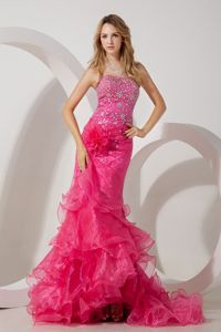 Exclusive Lace-up Hot Pink Mermaid Formal Prom Attire with Ruffles and Rhinestones