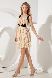 2013 Modern Straps Ruffled Short Champagne Prom Dresses Free Shipping