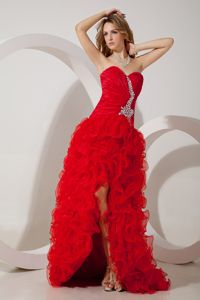 Amazing High-low Beaded Ruffled Red Formal Prom Dresses for Celebrity