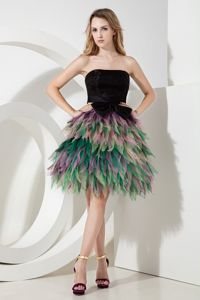 The Best Multi-color Short Cocktail Prom Dress with Asymmetrical Hemline