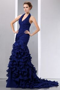 Mermaid Halter Royal Blue Ruched Court Train Prom Dresses with Ruffles