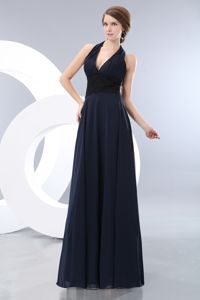 Sexy Navy Blue Halter Full-length Dress for Formal Prom with Black Lace