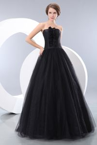 Gorgeous Strapless Black Tulle Floor-length Formal Prom Dresses in Boise