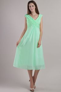 Simple Apple Green Ruched V-neck Tea-length Semi-formal Prom Dresses