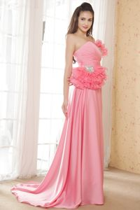 Watermelon Strapless Ruched Brush Prom Dresses with Ruffles and Flowers