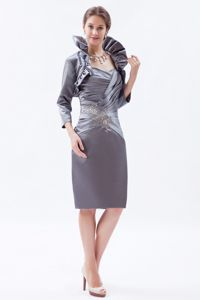 Grey Zipper-up Sweetheart Knee-length Informal Prom Dresses with Beading