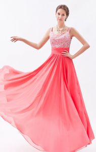 Watermelon Red Beaded Floor-length Semi-formal Prom Dresses with Straps